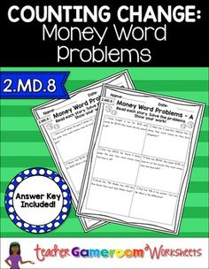 5 worksheets of money word problems. There are 2 types of worksheets. The first set  of worksheets are basic addition and subtraction word problems. The second set  is a short story of kids finding money and student must figure out how much they have based on the number of coins and bills the kids found.