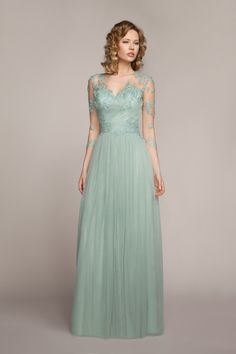 Aliexpress.com   Buy Robe De Soiree Longue V Neck 3 4 Sleeves Made Of Tulle  Pleats Long Dresses Evening Appliques Elegant Cheap Great Gatsby Dress from  ... be74843bdb08