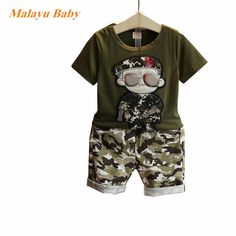 767707c099a5 Summer Children Boy Clothes 2017 new Sets Kids 2pcs Short Sleeves T-Shirt  Toddler Suits Camouflage Shorts Child Clothing Suits