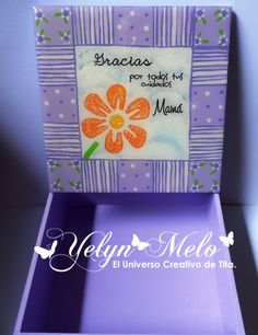 """Cofre lila para el día de las madres, con #latinacrafter. Set de sellos """"La mejor Madre"""""""