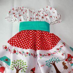 Little Red Riding Hood Peasant Dress using Riley Blake fabric designed by Tasha Noel.  I just love the mushrooms!