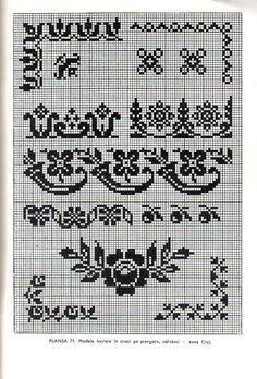 *etnobiblioteca*: Culegere de cusături populare de Leogadia Ștefănucă Cross Stitch Borders, Simple Cross Stitch, Cross Stitch Charts, Cross Stitching, Cross Stitch Embroidery, Hand Embroidery, Palestinian Embroidery, Different Stitches, Filet Crochet