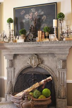 Romancing the Home: An Incurable Collector De-Clutters the Living Room - Romancing the Home: An Incurable Collector De-Clutters the Living Room - Fireplace Mantle, Fireplace Surrounds, Fireplace Design, World Decor, Rock Fireplaces, Tuscan Decorating, Decorating Ideas, Dream Furniture, French Decor