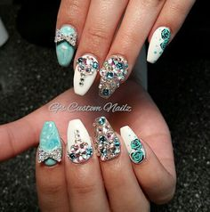 Inspiration discovered by Alisia Small. #Coffin #Nails #Teal #White #Marble #Flower #Bows #Rhinestone #Bling ##NailArt #Love #iLiveForThisTypeOfStuff @bloomdotcom