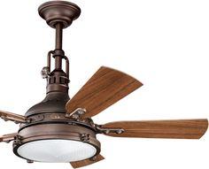 Kichler Hatteras Bay 44 in. Indoor/Outdoor Ceiling Fan - Weathered Copper - The Kichler Hatteras Bay 44 in. Indoor/Outdoor Ceiling Fan - Weathered Copper brings breezy style (plus plenty of breeze) to any space, indoors. Best Ceiling Fans, Outdoor Ceiling Fans, Porch Ceiling, Outdoor Lighting, Exterior Ceiling Fans, Hunter Ceiling Fans, Bedroom Ceiling, Lighting Ideas, Lighting Design