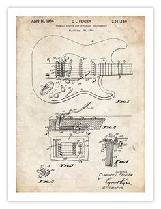 FENDER STRATOCASTER GUITAR POSTER 1956 US Patent Art Print Poster Vintage Reproduction Gift, 18 by 24 inches
