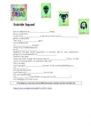English worksheet: Suicide Squad Trailer Activity