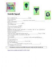 English worksheet: Suicide Squad Trailer Activity