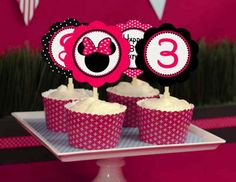 Cupcake Toppers Girl - Minnie Mouse Pink Birthday Party Line - STYS. $20.00, via Etsy.