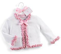 Pink and White Ruffled Cardigan Sweater