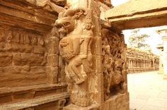 """Temple entrance. """"Kailasanatha contains in embryo many of the features of the rapidly emerging South Indian style: gopuras, pilastered walls, a pyramidal shikhara, and a perimeter wall enclosing the complex."""""""