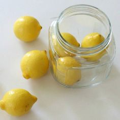 How to Store Lemons: The best way to store lemons is to place them in a jar and then cover with water and place in the refrigerator. It turns out the water seals the lemon peel and keeps the lemon from drying out! I never knew this - have to check it out!