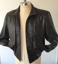 JEAN PIERRE Argentina Vintage 70s Jacket Leather Biker Mens 44 Large Brown #JeanPierre #FlightBomber