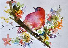 Aves acuarela ORIGINAL pintura 6 x 8 pulgadas, pájaro rojo con flores de colores