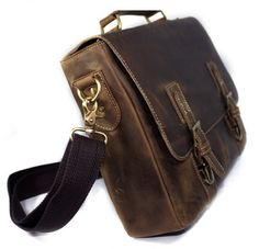 Elite Leather Bags — Vintage Handmade Crazy Horse Leather Briefcase Messenger 14 Laptop / 15 MacBook Bag