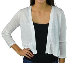 Charter Club Women's Open Front Cardigan Small S White Top Sweater 3/4 Sleeve  #CharterClub #OpenFrontCardiganCropped #Any