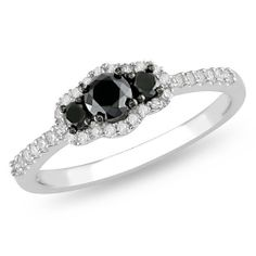 10k White Gold Black and White Diamond Engagement Ring (0.5 cttw, G-H Color, I2-I3 Clarity) Amazon Curated Collection. $250.00. Made in China