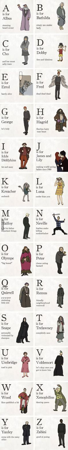 Illustrated Alphabet Of Harry Potter Characters The Illustrated Alphabet Of Harry Potter Characters. these captions are so perfect.The Illustrated Alphabet Of Harry Potter Characters. these captions are so perfect. Estilo Harry Potter, Arte Do Harry Potter, Theme Harry Potter, Harry Potter Jokes, Harry Potter World, Harry Potter Universal, Harry Potter Characters Names, Harry Potter Cards, Always Harry Potter