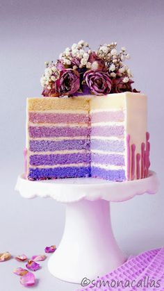 Purple Ombré Lavender Cake / Tort degrade cu lavandă - simonacallas