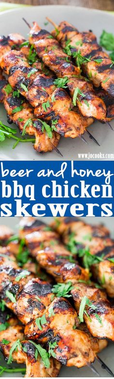 Cooking Ideas: Incredibly delicious Beer and Honey BBQ Chicken Skewers - Perfect for a weekend or even a busy week night. Just prepare the night before let marinate overnight and grill when ready. Chicken Skewers, Bbq Chicken, Honey Chicken, Chicken Tostadas, Chipotle Chicken, Chicken Bites, Chicken Legs, Grilling Recipes, Cooking Recipes
