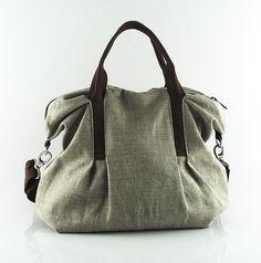 Verkauf - natürliche Farbe Leinen Shopper, Handtasche, Umhängetasche, Rüschen, Messenger, Falten, dauerhaft - Michelle