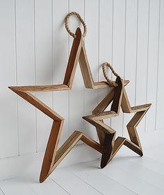 Set of 3 decorative hanging wooden stars