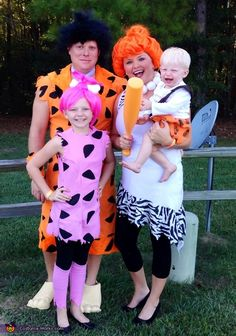 Bridgett: We are The flinstones. My husband and I are Fred and Wilma. My 11 year old daughter Adelynn is pepples and my 1 year old son Brady us our bam...