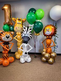 Safari Theme Birthday, Boys First Birthday Party Ideas, Animal Birthday, Birthday Party Themes, Jungle Theme Cakes, Birthday Balloon Wreath, Balloon Gift, Birthday Balloons, Balloon Bouquet