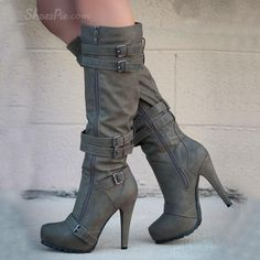 Camel Coppy Leather Stiletto Heel Knee High Boot with Amazing Buckle Decoration
