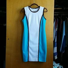 Blue and white Calvin Klein dress NWOT Amazing spring and summer worthy dress by Calvin Klein. New without tags. Bought it and never wore it but I preemptively took the tags off. Perfect condition. Size 4. Calvin Klein Dresses