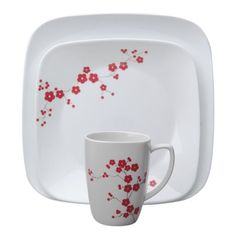 "#Corelle® Square™ Hanami Garden 16-pc Dinnerware Set - Hanami (""flower viewing"") is the traditional Japanese custom of enjoying the beauty of flowers or, more specifically, cherry blossoms. In this set, bright red cherry blossoms, in varying sizes, are magnificent against the white background. // click through to shop."
