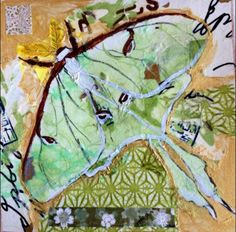 Luna Moth collage on paper by Liz Carlson Arts and Illustration 2014