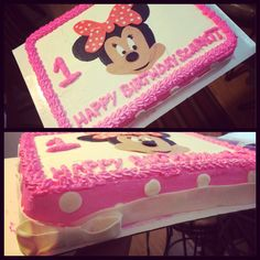 Minnie Mouse whipped cream with fondant decals -LTs Lovely Cakes