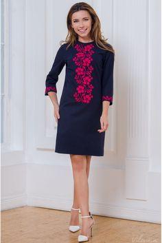Простора святкова сукня з вишивкою • колір: темно-синій • інтернет магазин • vilenna.ua