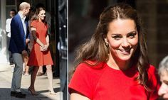 Kate Middleton stuns in scarlet as she joins Prince William at helpline in London | Daily Mail Online