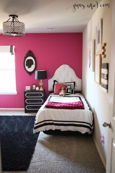 Black, White, and Hot Pink Sophisticated Big Girl Room