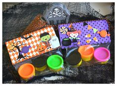 Good idea, just make this NOT Halloween because I hate Halloween. But fun to make playdough holder for kids gifts