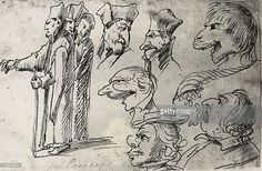 Caricatures and sketches of heads, attributed to Annibale Carracci. Gallery of Drawing, Munich