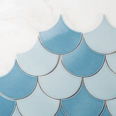 Also known as fish scale tile or scallop tile, Ogee Drop is a refreshing and playfully chic addition to any space. Taking cues from Moroccan tile and Spanish… Scallop Tiles, Mermaid Tile, Fish Scale Tile, Fireclay Tile, Tile Trim, Beautiful Fish, Color Tile, Color Of The Year, Graphic