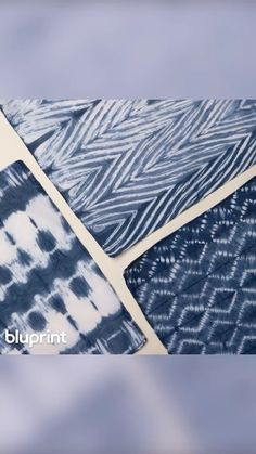 Bluprint presents 3 traditional techniques for patterning a scarf using the Jacquard Indigo Kit. Shibori Techniques, Indigo, Outdoor Blanket, Presents, Kit, Traditional, Fabric, Pattern, Instagram