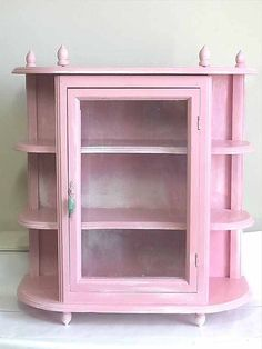Delightful Shabby Chic Pink Curio Cabinet Wall Hanging Or Stand Alone