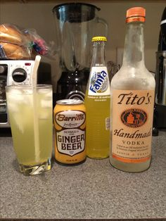 Hawaiian Mule (recipe adapted from drink at Yard House) 2 oz vodka 2 oz pineapple soda 6 oz ginger beer OR you could substitute pineapple vodka and add ginger beer to taste.