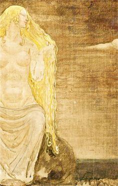 Freya - John Bauer Vintage Illustration Art, Illustrations, Norse Goddess Of Love, John Bauer, Germanic Tribes, Beowulf, Scary Places, Asatru, Sacred Feminine