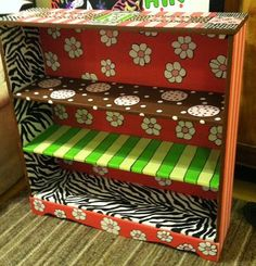Whimsical Funky Painted Furniture | Vintage Whimsical Funky hand painted wood book by TheRummageRack, $114 ...