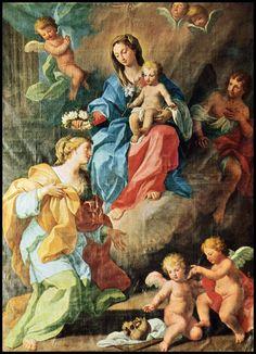 XVIII sec., di anonimo, Maria pone corona di rose sul capo di S. Rosalia
