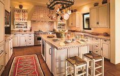 dise�o de cocina rustica con encimera ceramica
