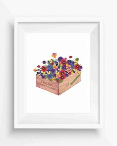 Box of pansies flowers,Farm Decor,Home Decor,Flowers print,digital prints,instant download