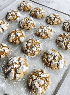 These delicious morsels combine my basic crinkle cookie recipe with all the fabulous aromatic spices from the German Pferrernusse cookie. Makes 36 cookies.
