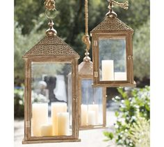 A die-cut metal top meets a cypress wooden frame for a romantic take on the traditional lantern ($79-$119, originally $99-$149).