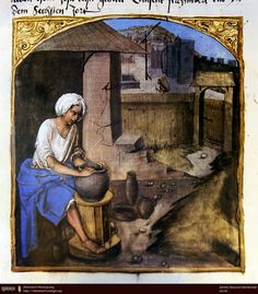 Woman in Middle Ages must make their own pots and pans. Baltazar Behem (1450 - 1508).